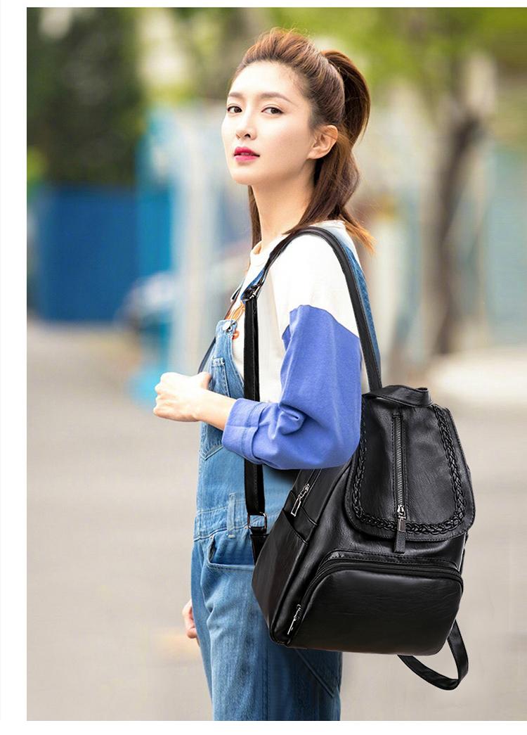 双肩包新款潮牌韩版时尚百搭女士休閒软皮小揹包旅行书包详细照片