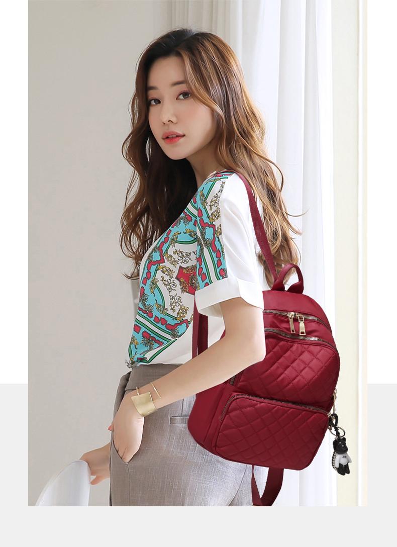 牛津布双肩包女新款韩版潮时尚时尚百搭书包帆布旅行揹包女包详细照片