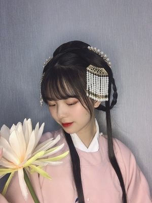 taobao agent 【Qiong Yu】Ancient wind pressure hairpin hair comb, Han costume, pearl tassel hairpin, ancient step by song, Ming Dynasty hair accessories