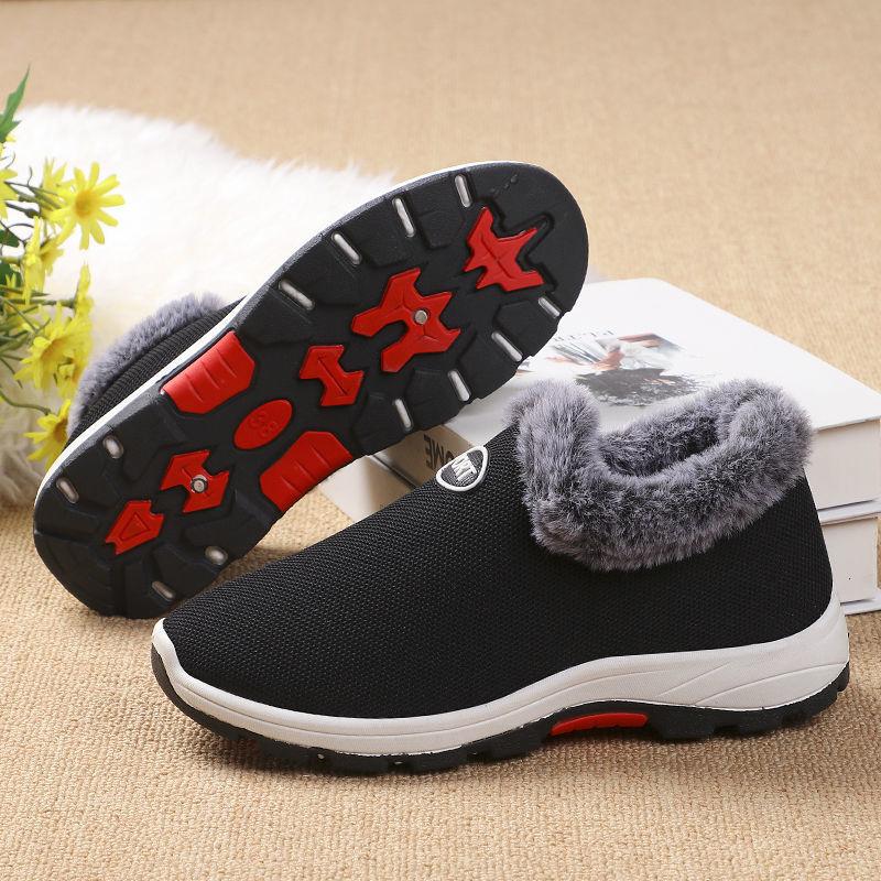新款冬季时尚送长辈加绒飞织运动鞋2020冬季时尚中老年款软底棉鞋
