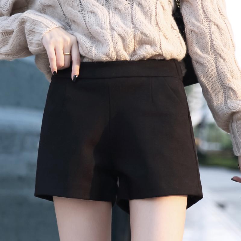 毛呢短裤女百搭高腰显瘦阔腿外穿靴