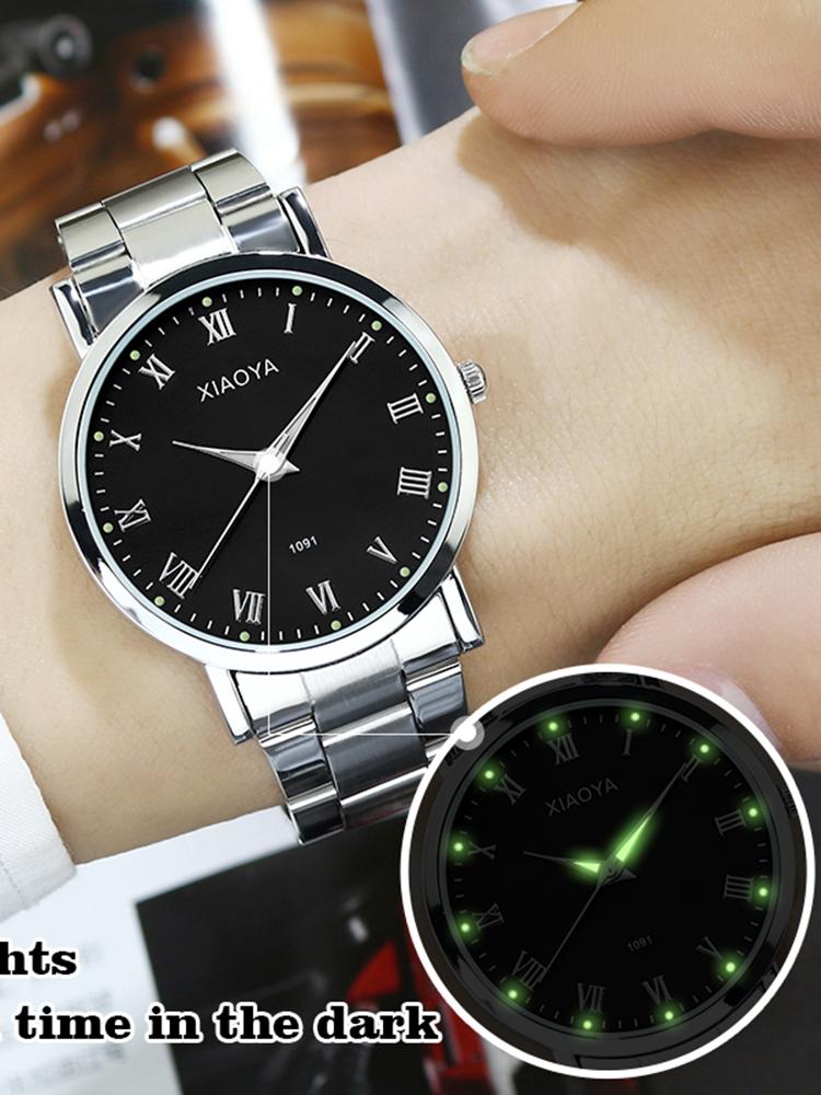 大气男大气学生防水夜光韩版手表简约潮流v大气复古石英钢带男表