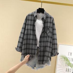 春夏格子衬衫复古港味韩版宽松长袖外套学生