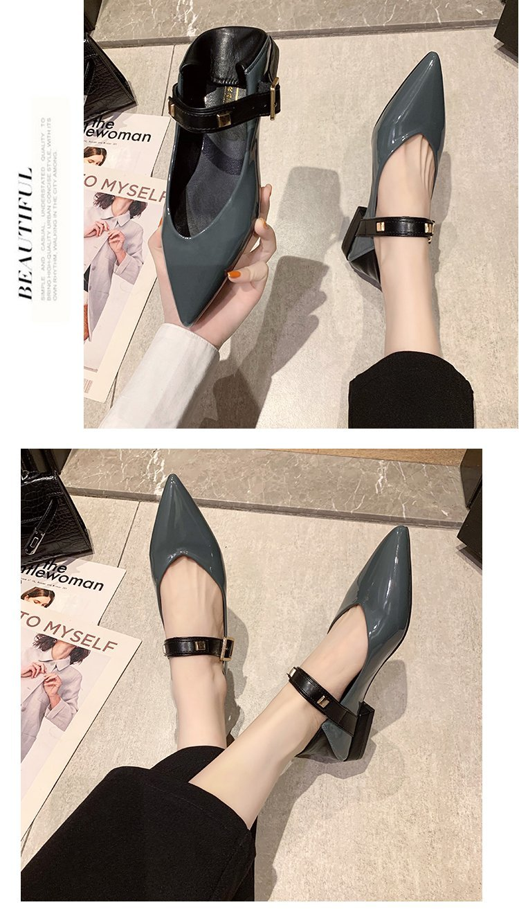 Autumn single-shoe women's 2020 new low-heeled flat-soled shoes women's one-word buckle with shallow-mouthed pointed women's shoes lacquered leather shoes 51 Online shopping Bangladesh