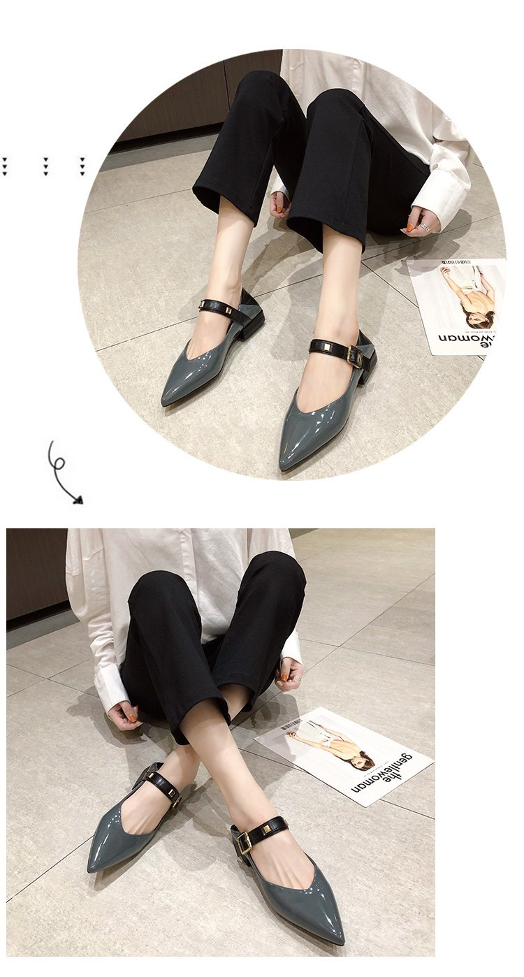 Autumn single-shoe women's 2020 new low-heeled flat-soled shoes women's one-word buckle with shallow-mouthed pointed women's shoes lacquered leather shoes 50 Online shopping Bangladesh