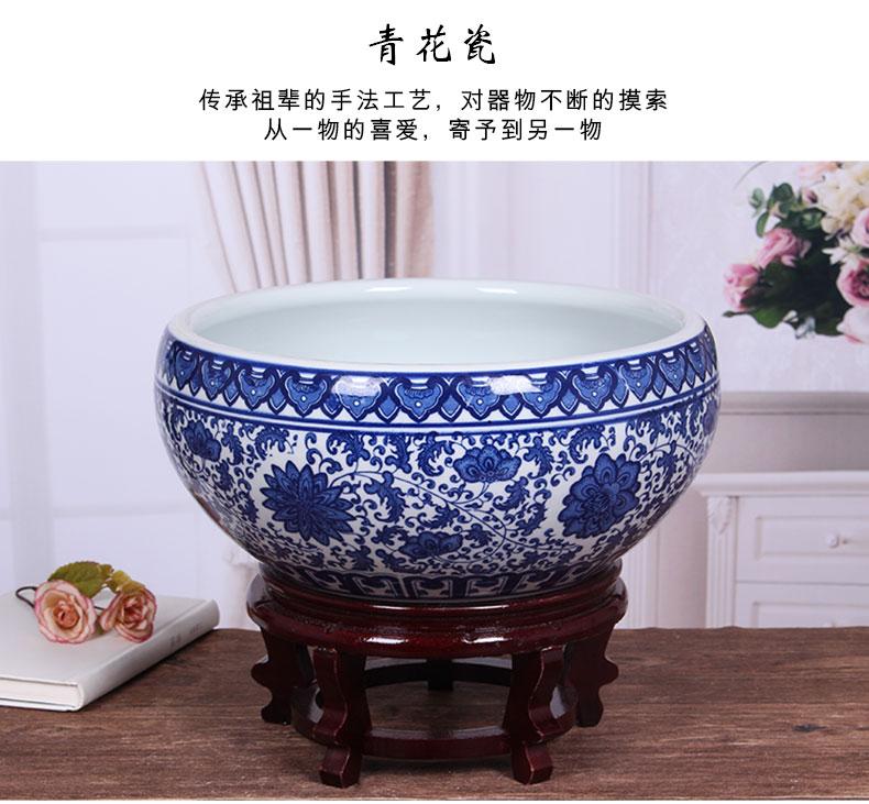 Ceramic aquarium landscape small turtle sitting room circular cylinder basin cylinder goldfish bowl lotus lotus lotus flower pot cylinder