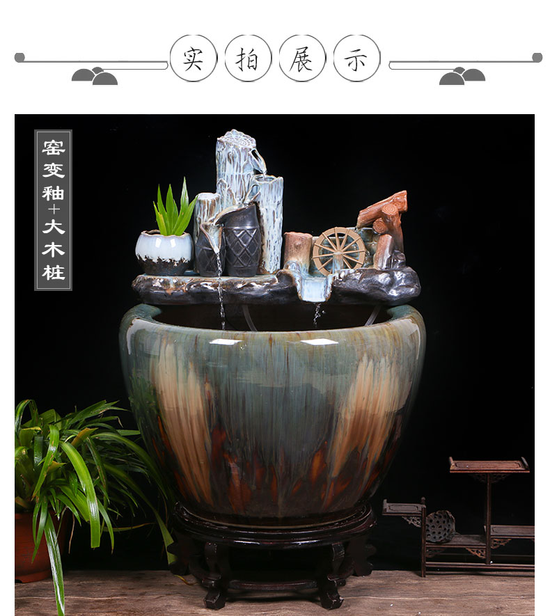 Jingdezhen ceramic big fish tank water turtle sitting room home furnishing articles circulating water tank yard large cylinder cylinder