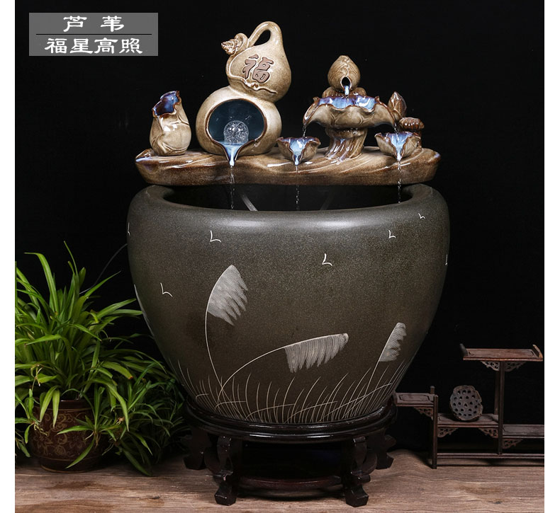 Jingdezhen ceramic aquarium circulating water lucky furnishing articles of small sitting room informs the landscape gold fish and turtles cylinder