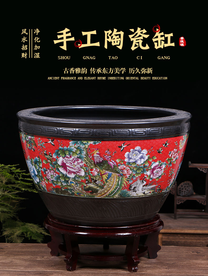 Jingdezhen ceramic goldfish bowl large red basin of water lily lotus tortoise cylinders of large tank furnishing articles in the living room