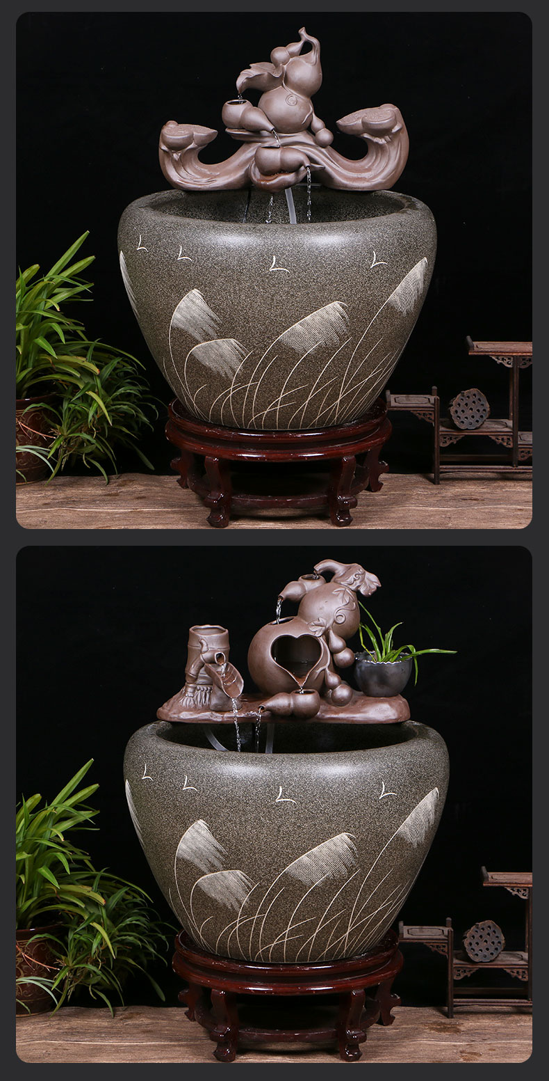 Jingdezhen ceramic goldfish bowl sitting room floor balcony office home furnishing articles circulating water courtyard big fish tank