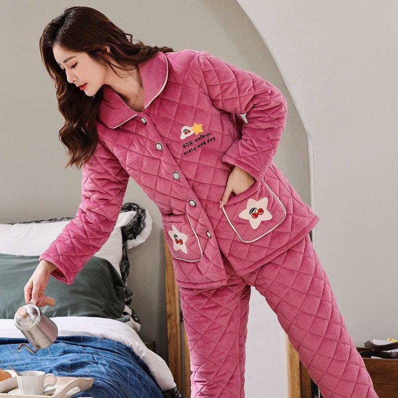 冬季女士夹棉睡衣三层保暖加厚家居服-秒客网