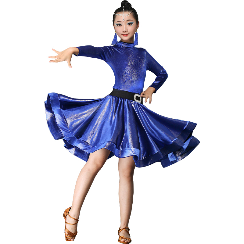 Girls Latin Dance Dresses Children's dance clothing training clothes children's long sleeve performance clothes professional girls' dance skirt