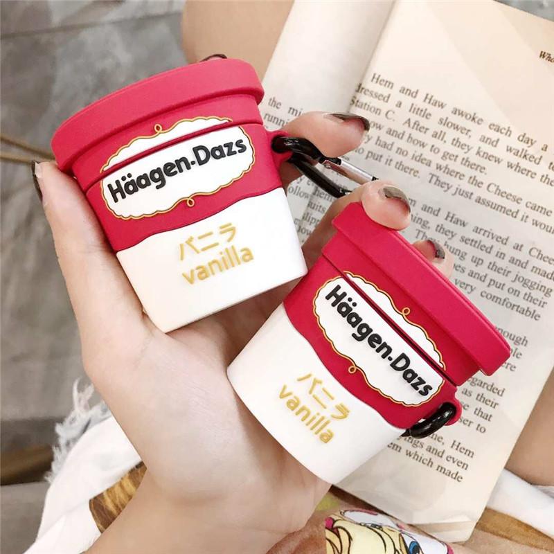 哈根达斯Airpods红潮蓝牙耳机保护套二代新款一代创意冰淇淋超无线立体配挂钩耳机形状包网耳机airpods硅胶套