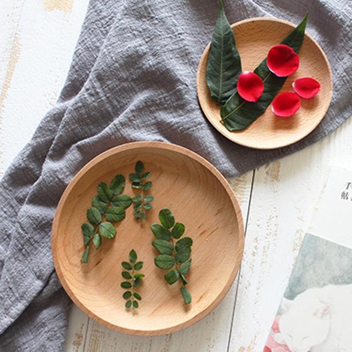Một hai toàn bộ gỗ không sơn sồi tròn khay vuông món ăn cốc món tráng miệng món ăn trái cây món ăn món sushi món ăn bằng gỗ món ăn - Tấm