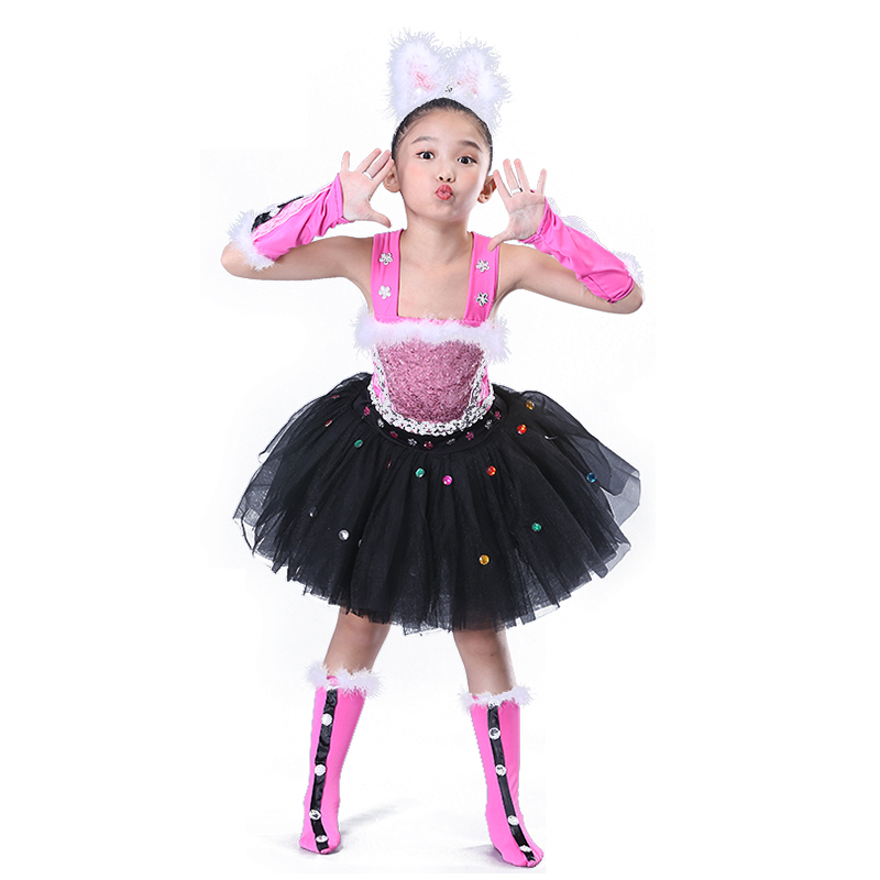 Girls Jazz Dance Costumes Children's dancers, dancers, cats, animal dances, Penguin skirts, modern nursery costumes