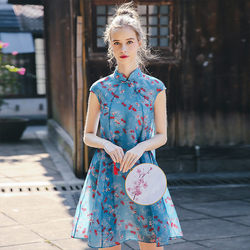 Split silk new clothes printed chiffon short-sleeved improved cheongsam Chinese style A-line dress women