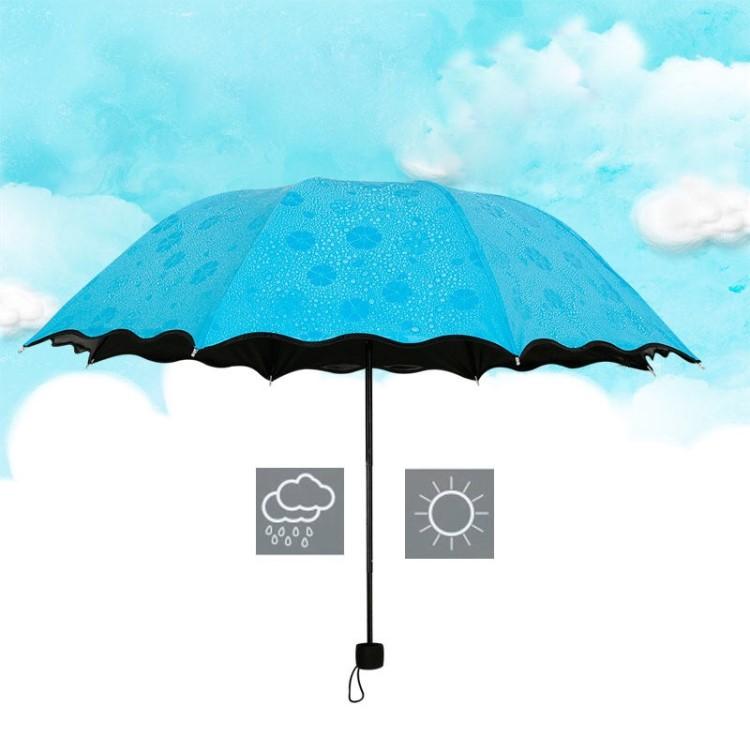 晴雨两用遇水开花黑胶防紫外线雨伞