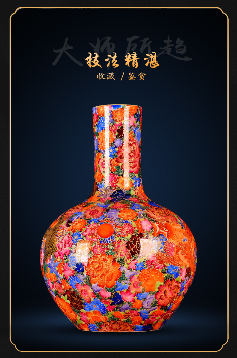 Jingdezhen ceramics archaize longfeng vase furnishing articles the see colour enamel hand - made sitting room rich ancient frame gift collection