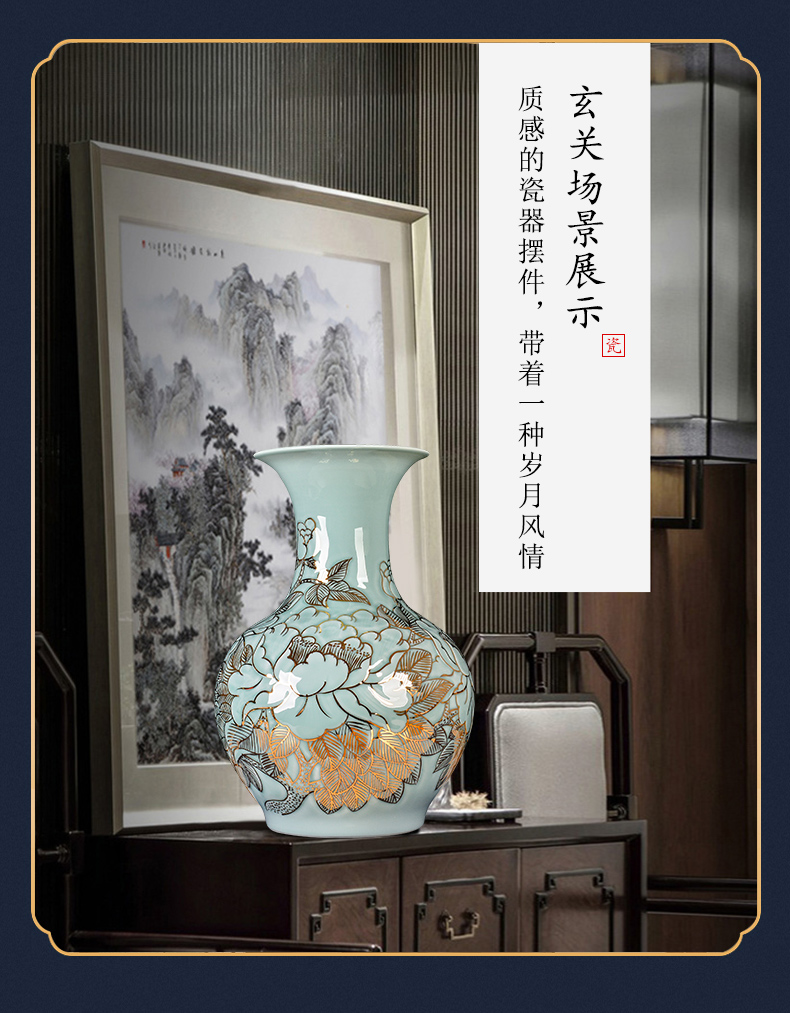 Jingdezhen ceramics hand - made shadow light green glair see vases, new Chinese style key-2 luxury living room decoration floor large - sized furnishing articles