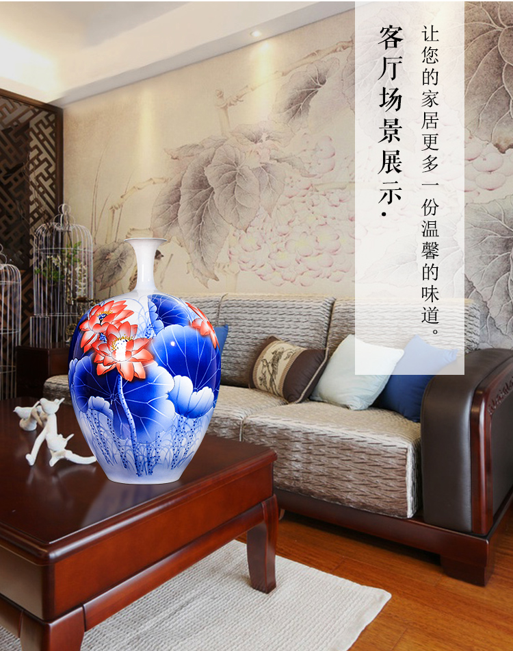 Jingdezhen ceramics hand - made lotus middle Chinese style living room TV ark, adornment is placed more than large vase