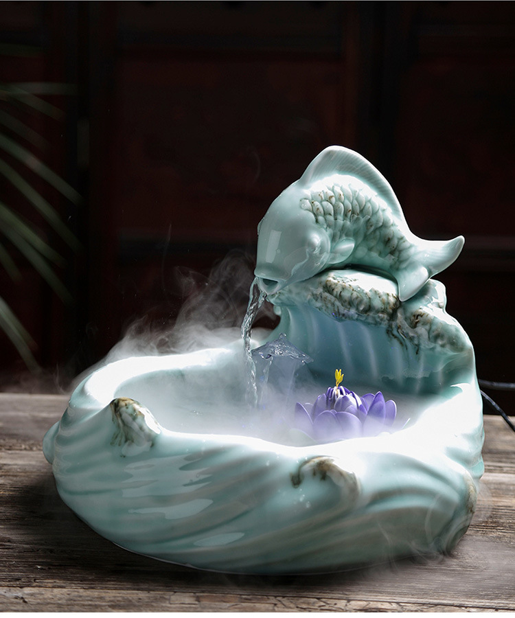 Version into gifts TV home office desktop fountain creative ceramic leap household geomantic furnishing articles