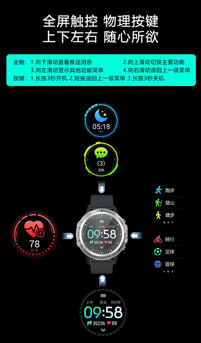 手环医疗级真血氧心率血压心电图多功能触控屏幕防水手錶计步久坐吃药提醒远程关注家人的健康详细照片