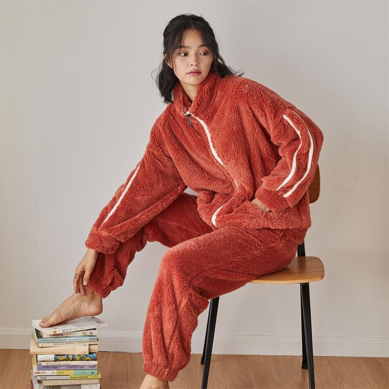 Dày cộng với nhung đảo san hô nhung đồ ngủ phụ nữ mùa thu và mùa đông flannel bóng chày phù hợp với dịch vụ nhà lông hai mảnh - Nam giới