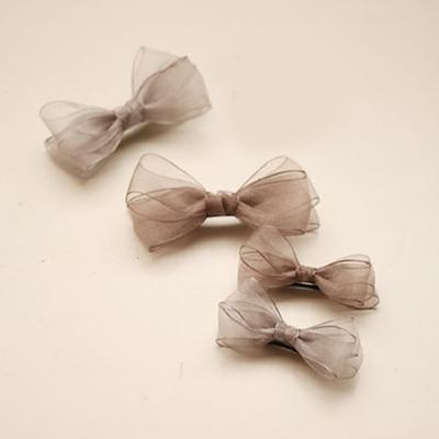 灰色刚刚好~欧根纱蝴蝶结发夹 顶夹发饰头饰韩国包邮 情人节礼物