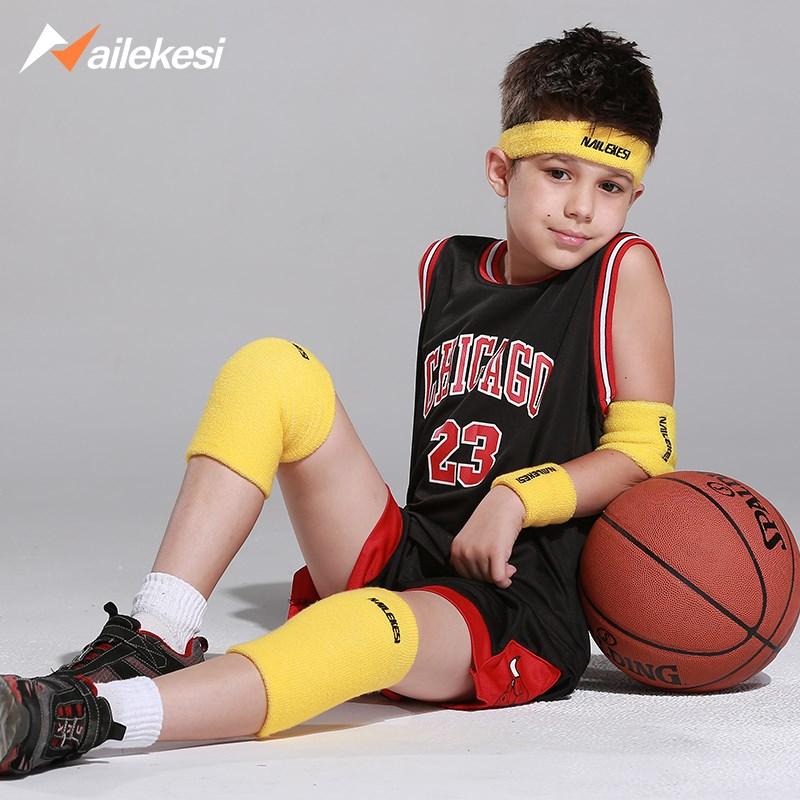 Miếng đệm đầu gối cổ tay đặt miếng đệm khuỷu tay đầy đủ bộ mùa hè trẻ em thể thao bóng rổ thiết bị bảo vệ cậu bé thiết bị đeo tay bảo vệ trẻ em - Dụng cụ thể thao
