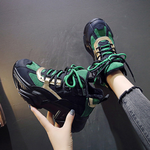 Daddy shoes women ins tide European station 2019 autumn and winter new plus velvet color matching thick bottom increased casual sports shoes