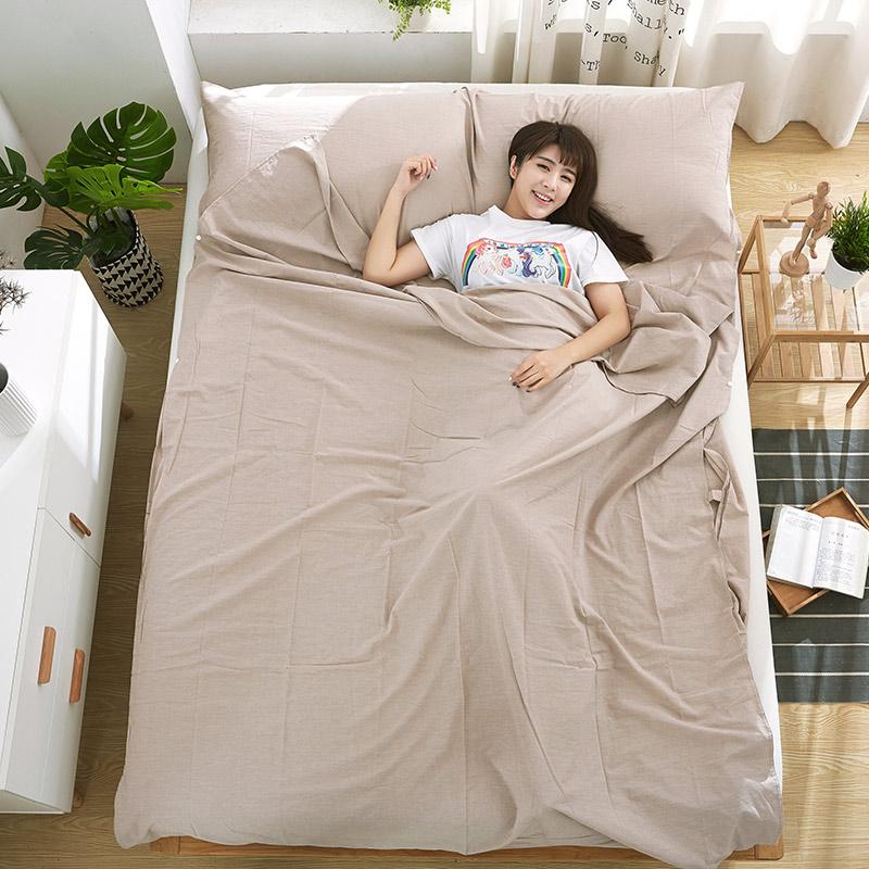 Cotton xách tay khách sạn tách túi ngủ bẩn khách sạn người lớn đôi cotton du lịch chống bẩn khăn trải giường - Túi ngủ