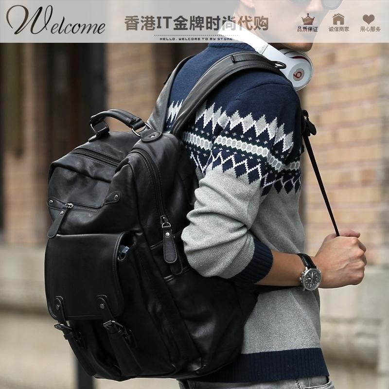 代购韩国全皮双肩包男 时尚潮流书包女 真皮商务休闲旅游电脑背包