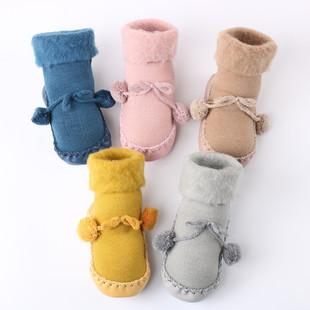 加絨保暖寶寶韓版蝴蝶結球球地板襪學步鞋