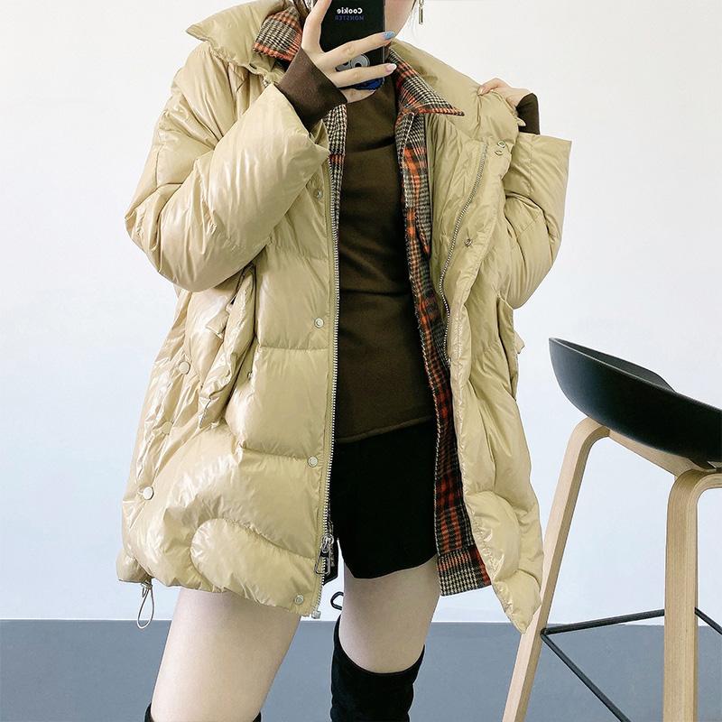 欧洲站冬装欧货潮韩版时尚白鸭绒外套轻薄亮面羽绒服2019年新款女