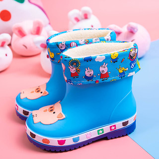 Children's rain boots, boys and girls, waterproof rubber shoes, children, children, babies, toddlers, non-slip cute cartoon warm rain boots