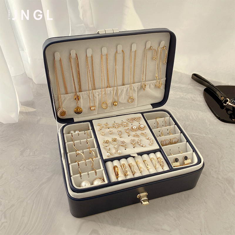 Large capacity multi-layer jewelry box European high-grade luxury earrings Ear needle necklace ring jewelry display storage box
