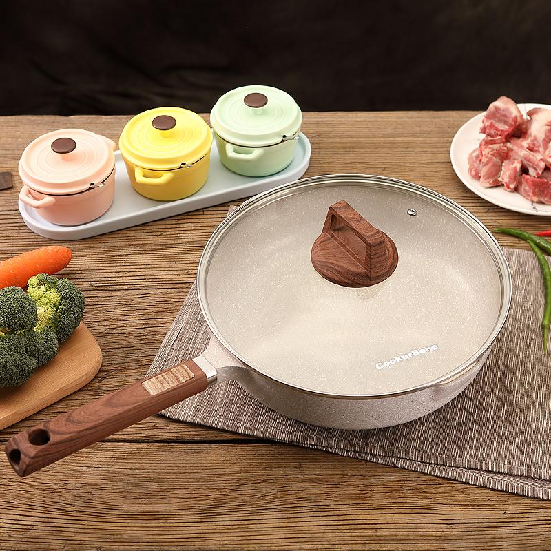 Cookerbene德国麦饭石平底锅不粘锅电磁炉煎蛋牛排烙饼炒锅燃气灶