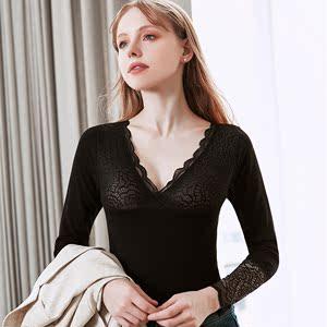 瘦小姐女神衣加厚加绒低V领保暖内衣蕾丝打底衫美体修身上衣长袖