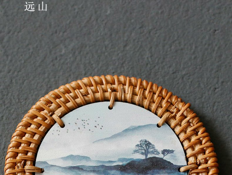 Continuous grain of the cane top service up cup mat mat heat a pot of tea cups a kung fu tea tea accessories printed cup mat
