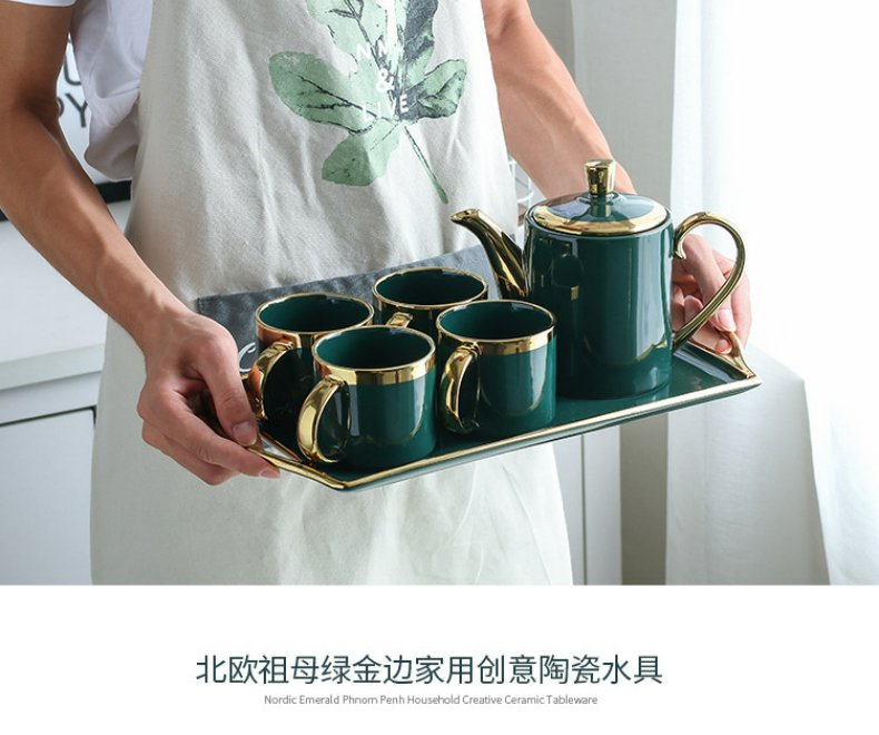 Continuous grain of glass suit household ceramic cup sitting room sets modern cold northern emerald creative up phnom penh water kettle