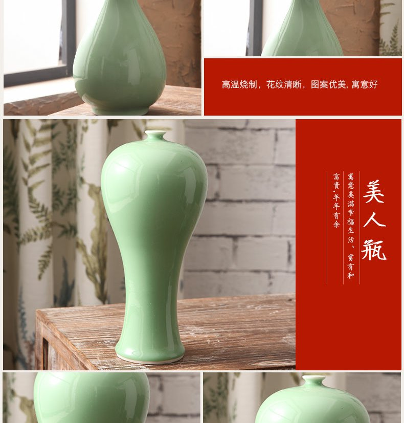 Continuous grain of jingdezhen ceramic vase furnishing articles I and contracted sitting room porch decoration of Chinese style household creative flower arrangement