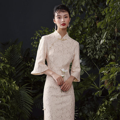 爷 2020 autumn and winter new lace retro speaker long-long light female improvement version of cheongsam dress