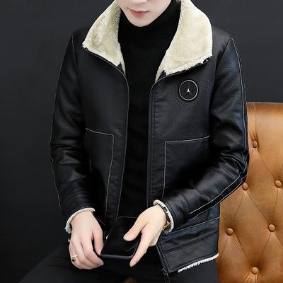 维士比皮毛一体加绒男冬季翻领机车皮夹克男士加厚棉衣袄冬外套