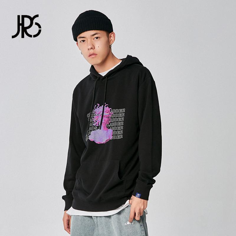 JRs 混乱阶梯印花连帽运动衫 2019AW秋季新品卫衣纯色潮宽松外套