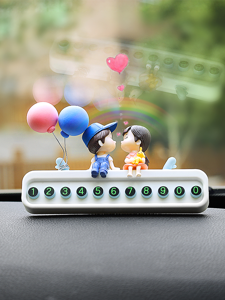 Couple car temporary parking card phone number move license plate temporary parking move car truck inside cute decorations