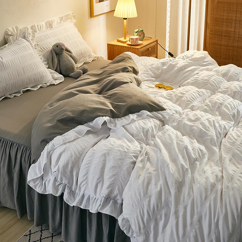 韩版公主风泡泡纱纯色被套少女心四件套床裙纯棉裙式床单宿舍家用