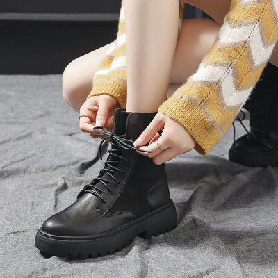 机车靴女2019新款英伦短筒马丁靴学生韩版厚底前系带高帮弹力袜靴
