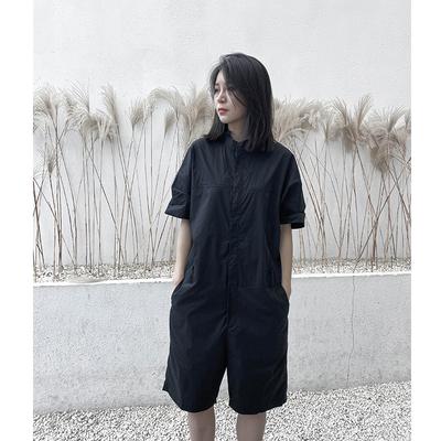 觅ME山本复古日系黑色短袖衬衫连体衣2021夏季新款宽松休闲工装裤