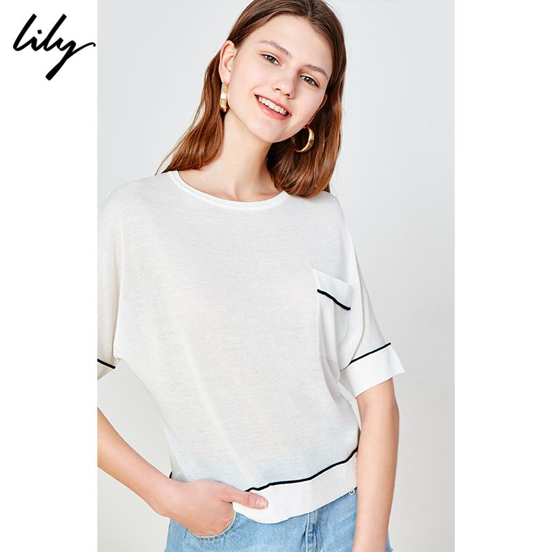 [Ole Specials] Áo thun nữ màu trắng tương phản đơn giản của Lily Women Áo thun dệt kim cổ tròn - Cộng với kích thước quần áo