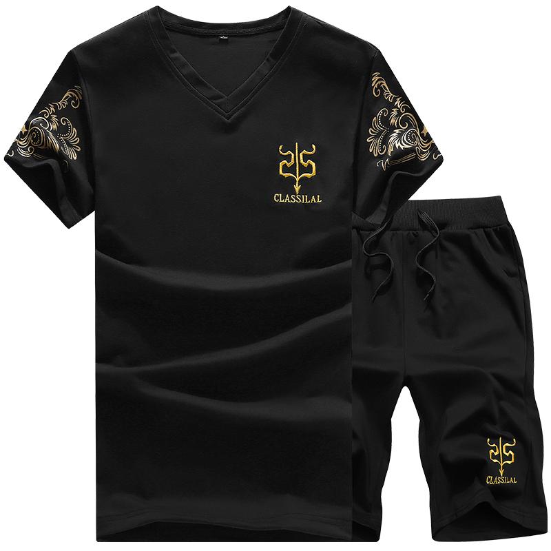男士短袖T恤两件套运动跑步